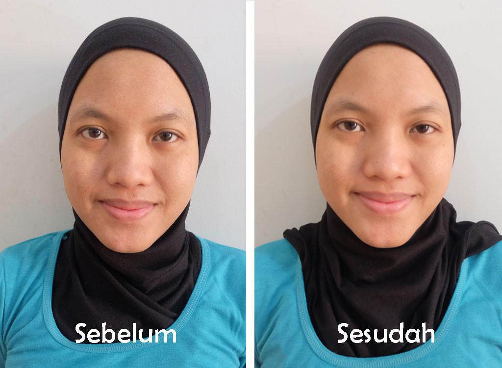 hasil pemakaian Cetaphil Gentle Skin Cleanser dengan memakai air pada wajah tak bermake-up