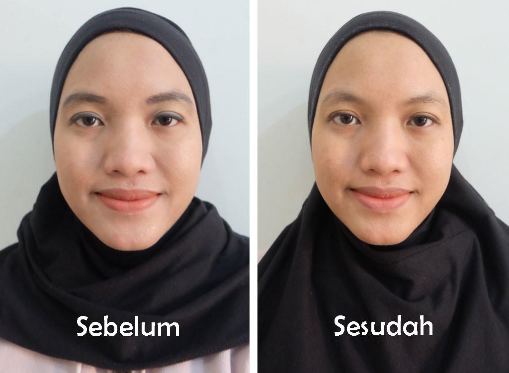 hasil pemakaian Cetaphil Gentle Skin Cleanser tanpa menggunakan air pada wajah bermake-up