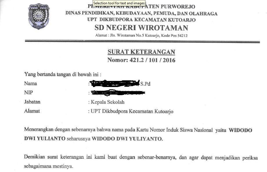 surat keterangan kesalahan penulisan nama di NISN