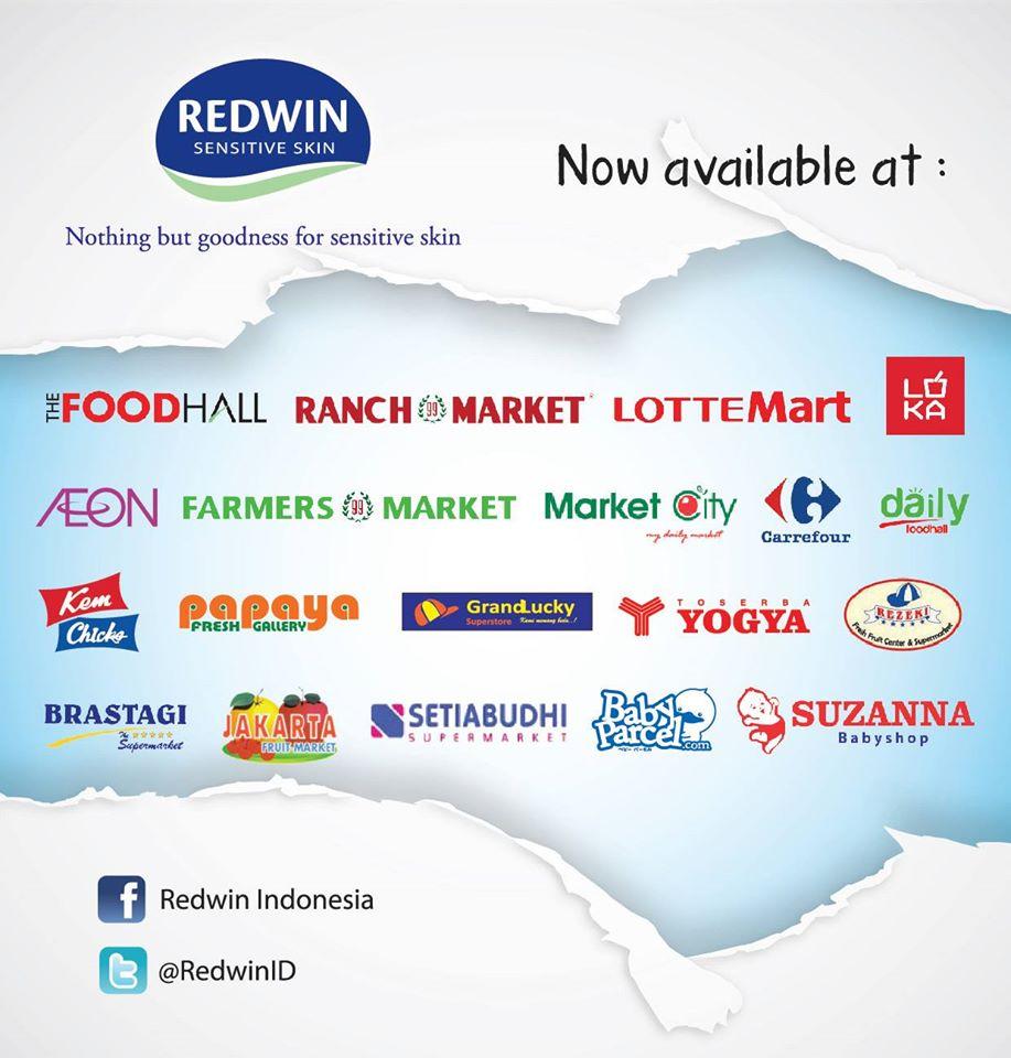 jaringan ritel penjual Redwin Sorbolene Moisturiser (Pict source from Fan Page Redwin Indonesia)