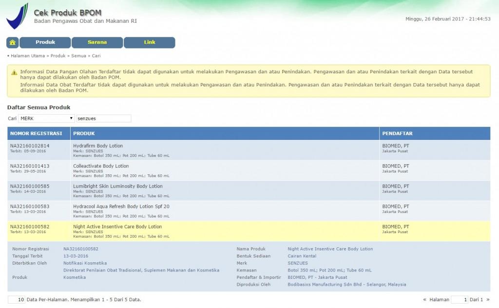 lima varian Senzues sudah terdaftar di BPOM