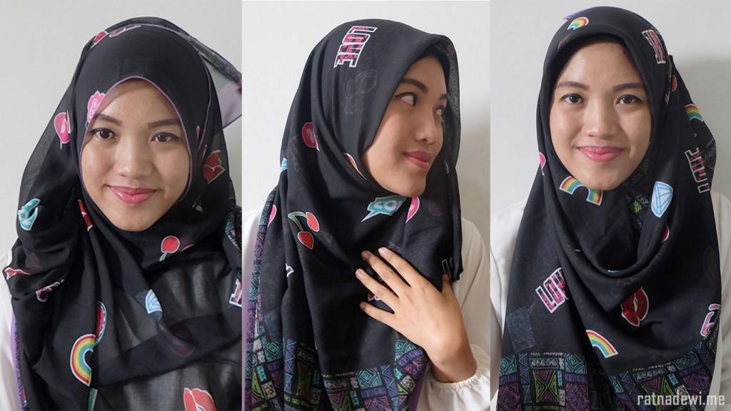 tiga style hijab menggunakan Bawal Printed - WHD